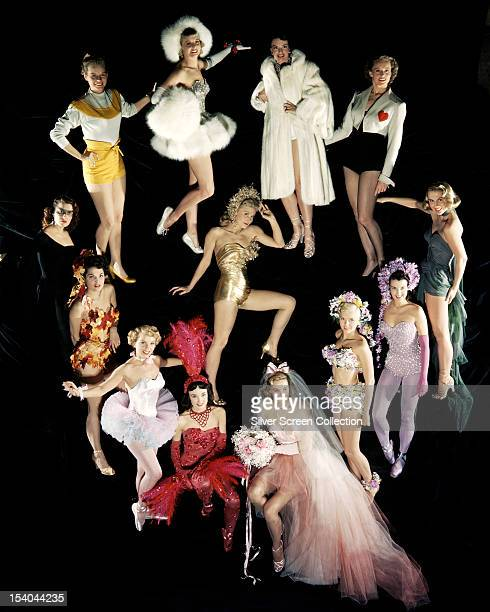 A group of Hollywood actresses in a variety of costumes circa 1955 They include American actress Ann Blyth