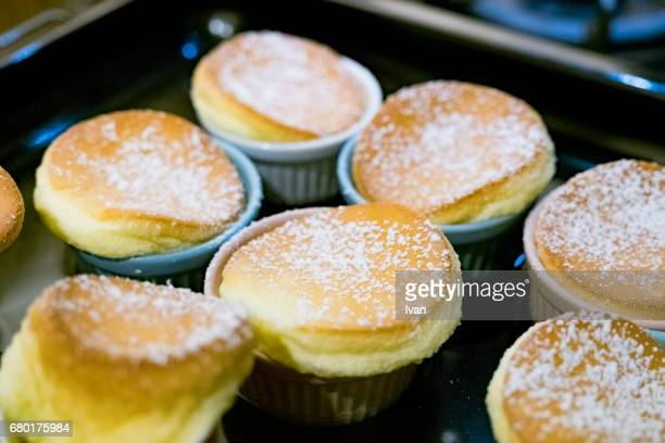 A Group of Homemade Souffle with Sugar powder