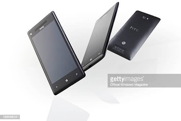 A group of HTC 8X smartphones photographed during a studio shoot for Official Windows Magazine November 16 2012