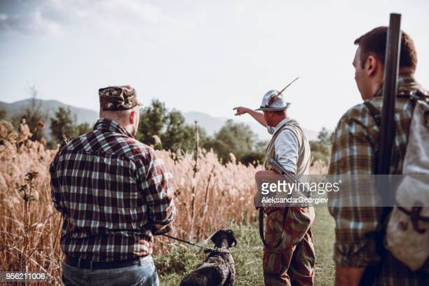 group of hunters with their dogs going for hunting action - animals hunting stock pictures, royalty-free photos & images