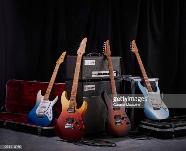 A group of Ibanez AZ Prestige and Premium Series electric guitars including a Premium AZ224FBIG Premium AZ242FTSG Prestige AZ2402TFF and an AZ2204ICM...