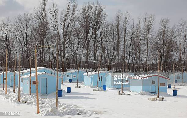 Group of Ice Fishing Cabins
