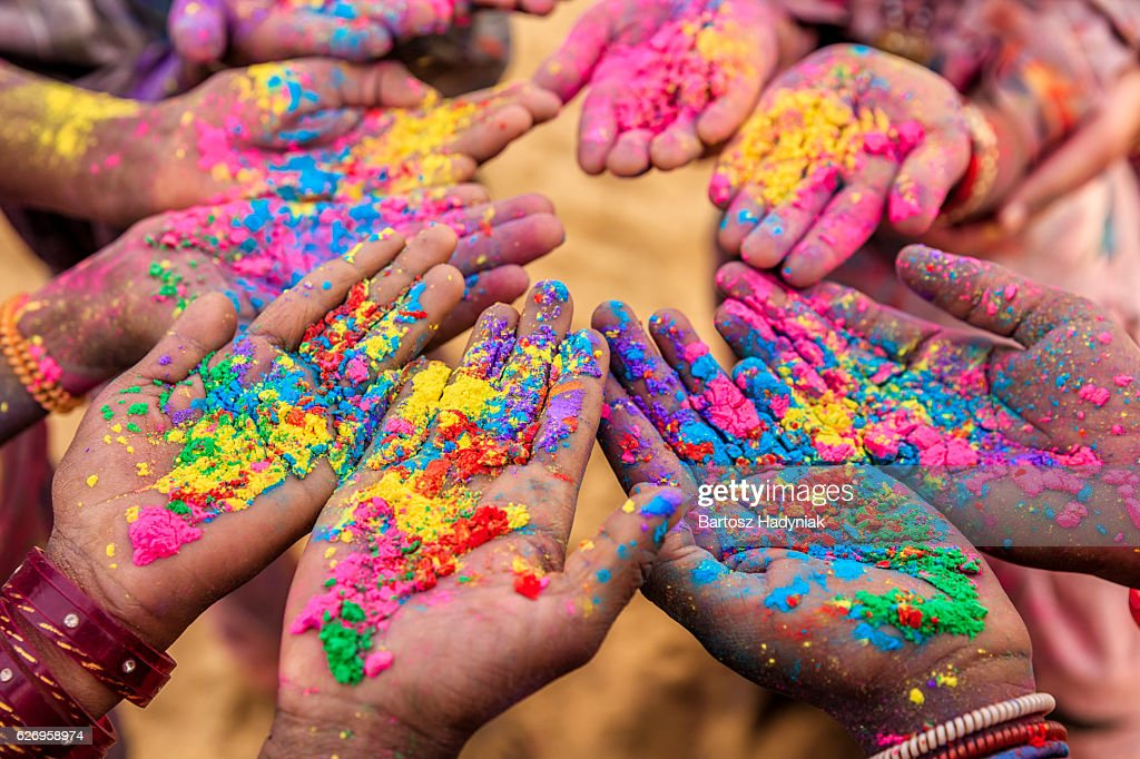 Group of Indian children playing holi in Rajasthan, India : Stock Photo