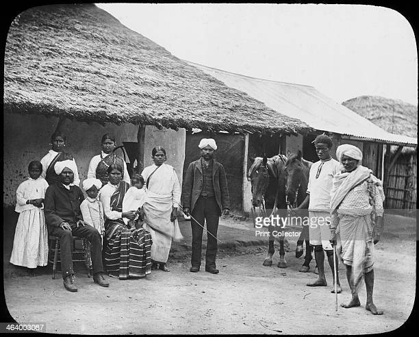 Group of Indian coolies South Africa c1890 From a series of lantern slides on the South African diamond and gold mines