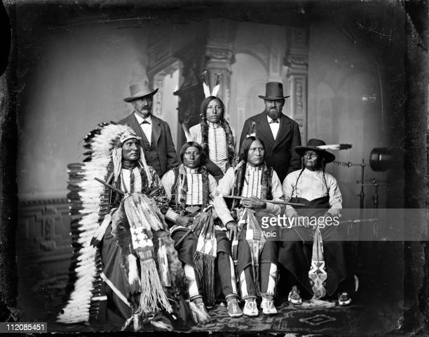 Group of Indian Sioux in 1877 in Washington to meet american president standing Joe Merrivale Spotted Tail Jr Antoine Janis seated Touch the Clouds...