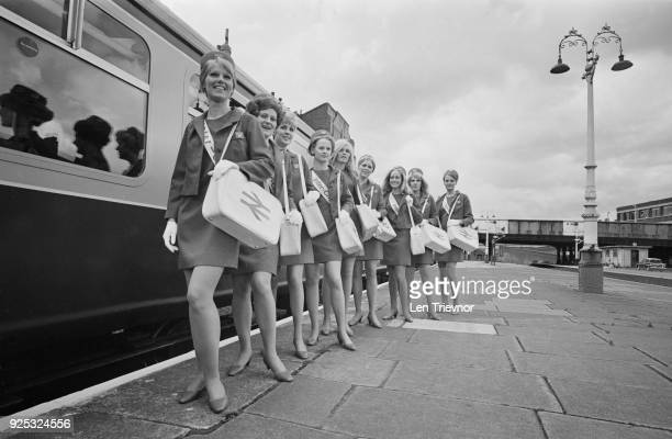 Group of 'Inter-City Girls' employed by British Rail to deal with passenger inquiries, as part of the company's latest marketing campaign for...