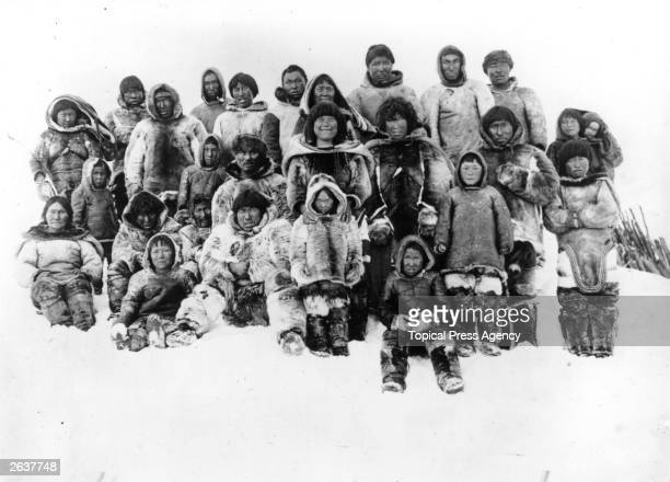 Group of Inuits of America's Arctic coastline who came to visit the camp of the Canadian explorer Vilhjalmur Stefanson, near Point Barrow. Stefanson...