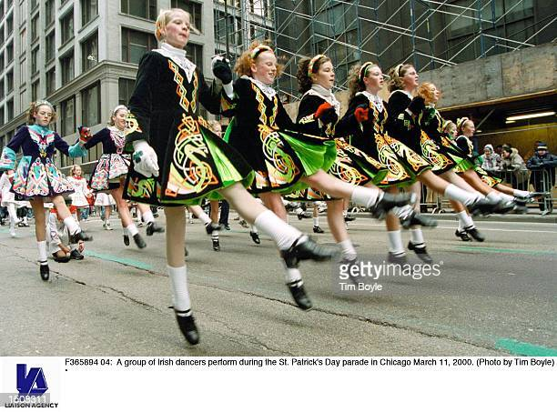 A group of Irish dancers perform during the St Patrick's Day parade in Chicago March 11 2000
