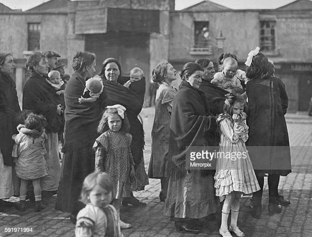 A group of Irish mothers and their babies listening to speeches from the Panel Coalition candidate in mid Dublin during the 1922 Irish elections 13th...