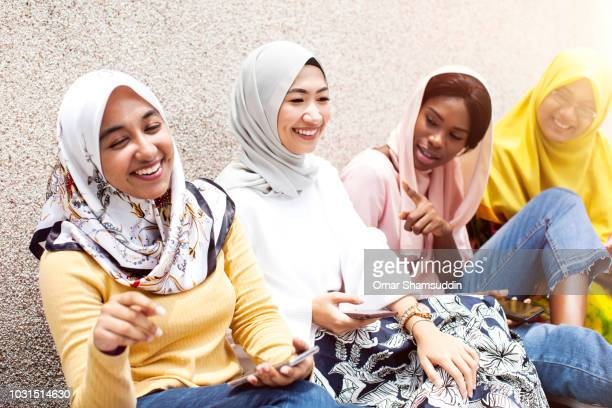 A group of Islamic university students having fun outdoor