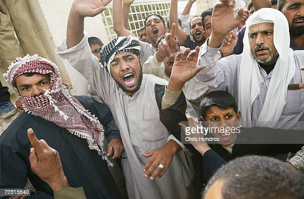 A group of Islamists shout during a demonstration April 16 2003 in AlKut Iraq A combo team of Marines Army and Special Forces went to schools in...