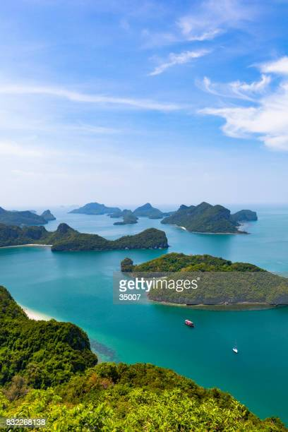 group of islands in ang thong national marine park - ko samui stock photos and pictures