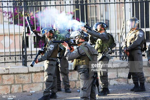 A group of Israeli soldiers fires tear gas into the streets of Bethlehem during a demonstration there Following another violent week in the...