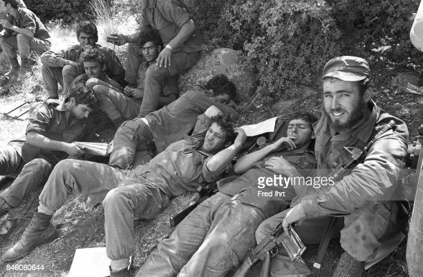 A group of Israeli soldiers taking a break in the shade during the Yom Kippur war