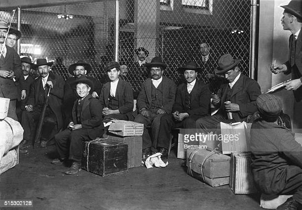 Group of Italian arrivals ready to be processed at Ellis Island Photo by Lewis Hine circa 1905