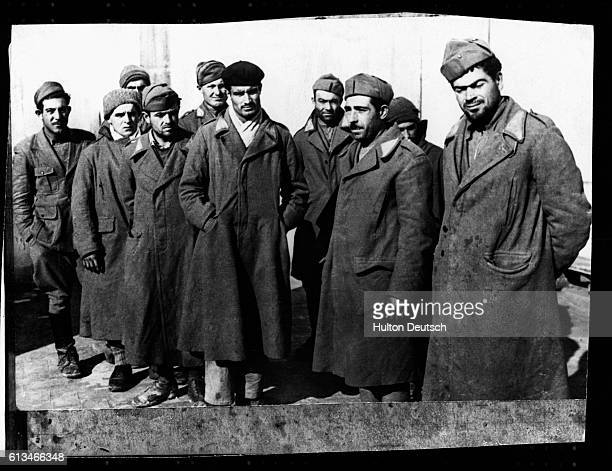 A group of Italian soldiers who have been taken prisoners by the Republicans during the Spanish Civil War