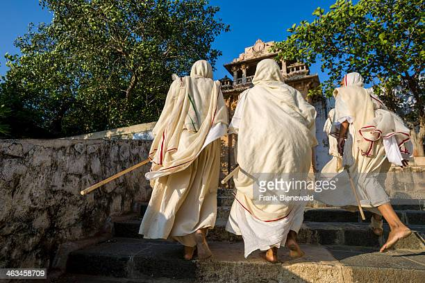 A group of Jain nuns are walking the 3500 steps up to Shatrunjaya hill Shatrunjaya is one of the major pilgrim sites for Jains