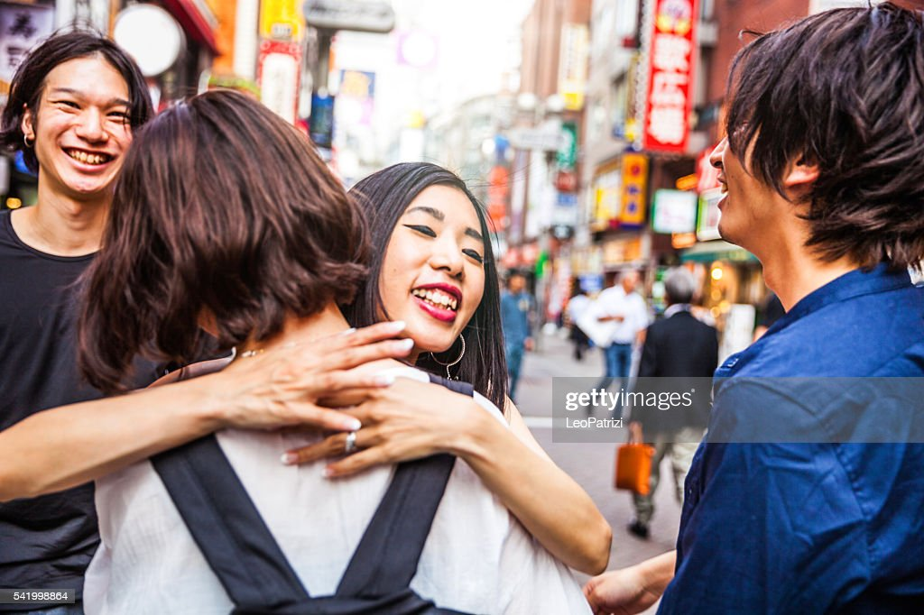 Group Of Japanese Friends Meet Up In Tokyo Shibuya High