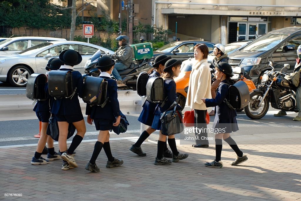 Group Of Japanese Girls Walk To School High-Res Stock ...