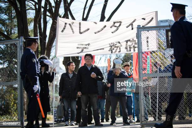 A group of Japanese protesters quotKakuhidoquot stage an antiValentine's Day demonstration march in Tokyo on February 12 2017 As Japan prepares to...