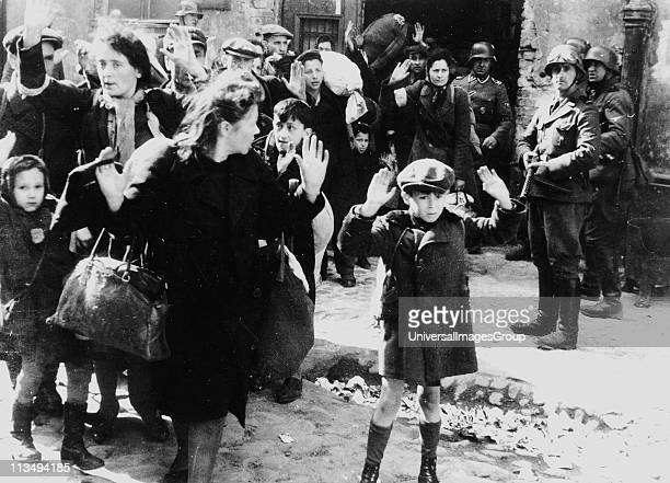 Photo from Jurgen Stroop Report to Heinrich Himmler from May 1943. Jews captured after the destruction of the Warsaw ghetto in Poland 1943