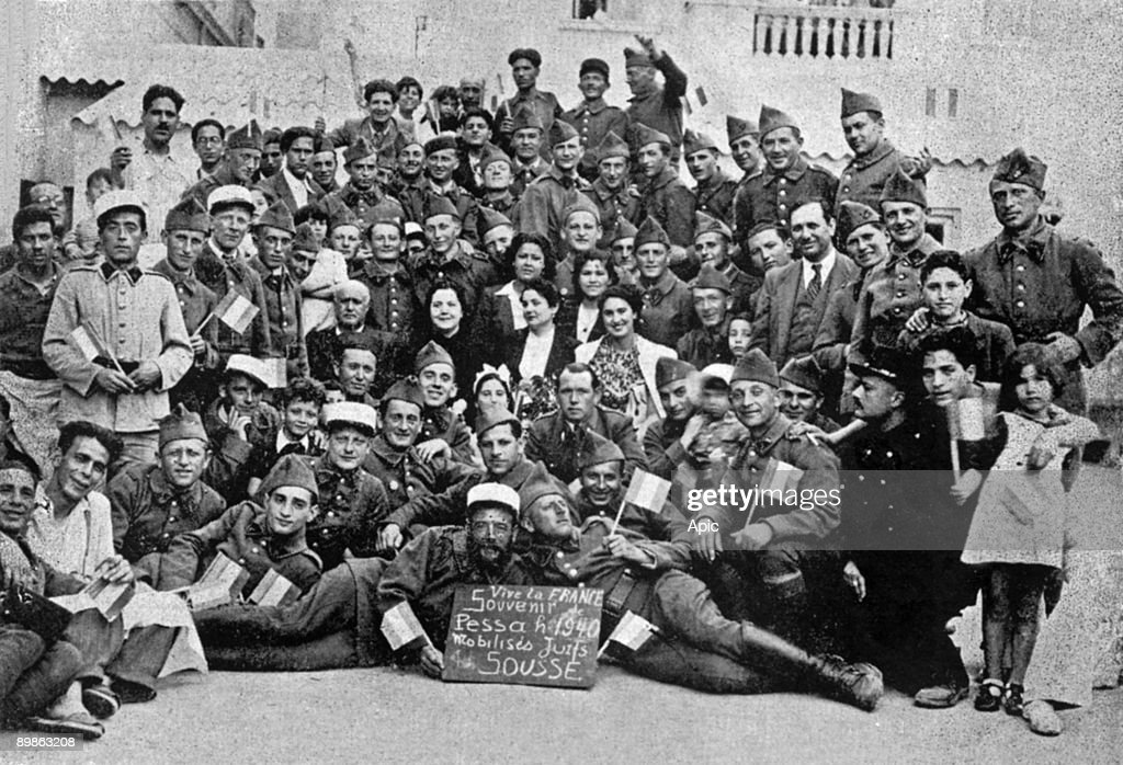 Group of jewish volunteer soldiers, fighting for France, here in Sousse, Tunisia, 1940 : Nieuwsfoto's