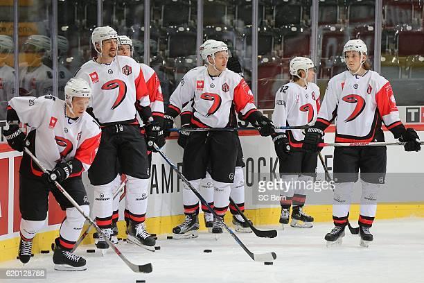 Group of Jyvaskyla warmup during the Champions Hockey League Round of 16 match between SC Bern and JYP Jyvaskyla at PostFinance Arena on November 1,...