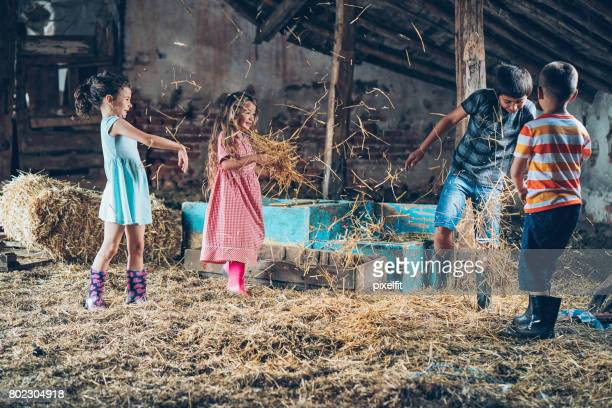 Group of kids fighting with hay in the barn