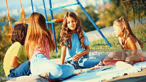 Group of kids playing outdoors.