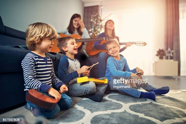 Group of kids practicing christmas carols