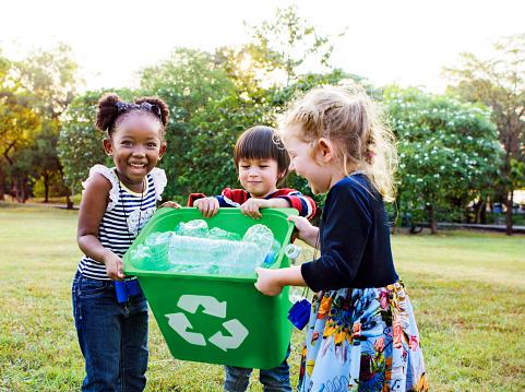 Group of kids school volunteer charity environment 670719454