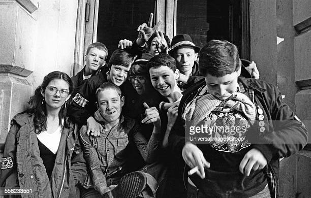 A group of kids Ska 2 Tone fans gesturing Coventry UK 1980