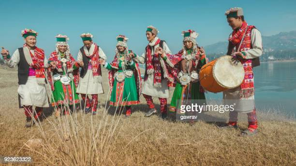 group of kinnaur tribal people dancing together in a group. - tradition stock pictures, royalty-free photos & images