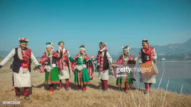 group of kinnaur tribal people dancing together in a group. - indigenous culture stock pictures, royalty-free photos & images