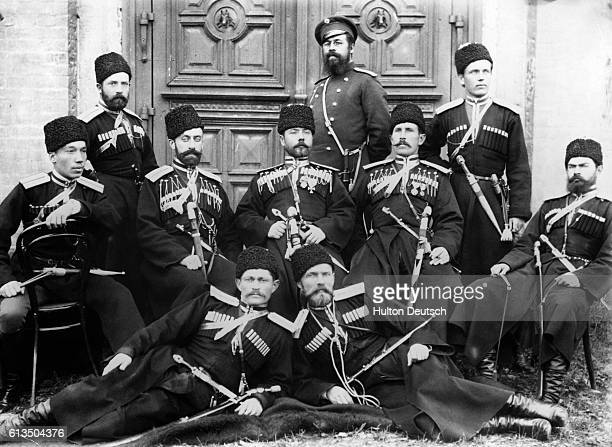 A group of Kuban Cossacks from the Russia in uniform