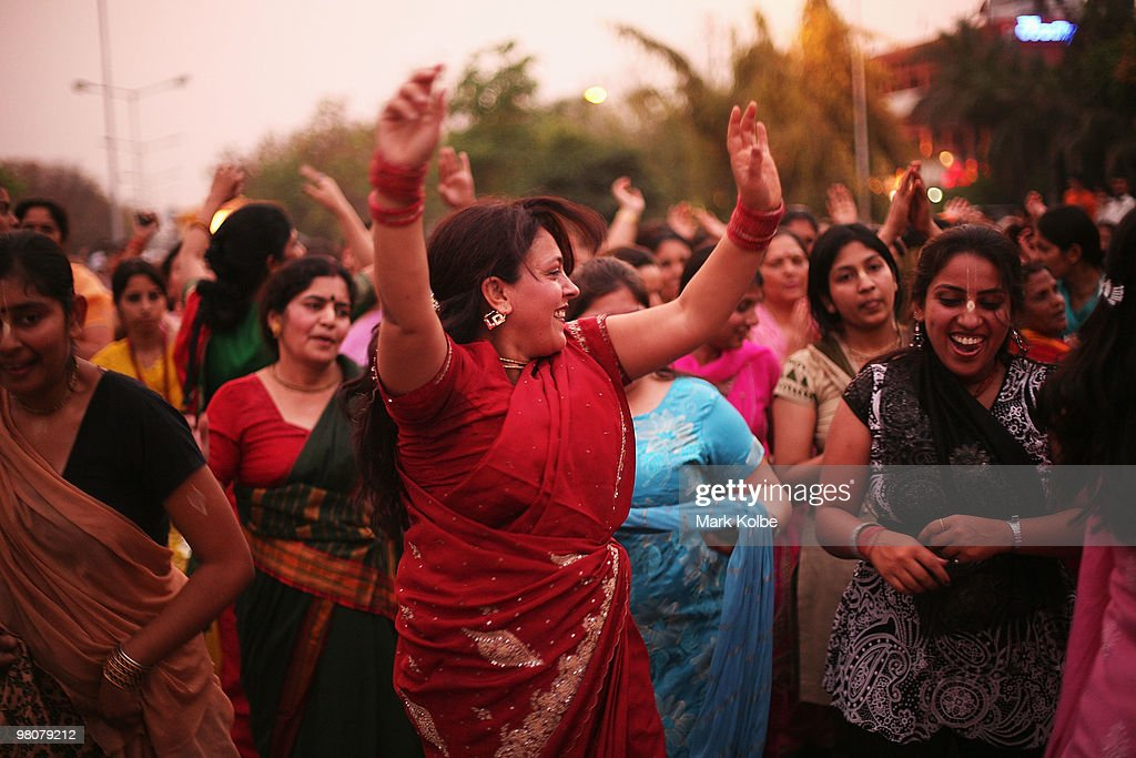 A group of ladies dance as locals of Chandigarh take to the street as they celebrate Ram Navmi religious festival on March 25 2010 in Chandigarh...