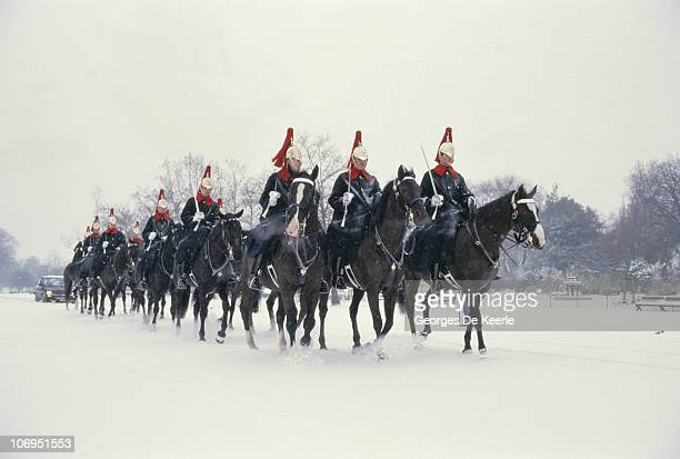 A group of Life Guards of the Household Cavalry riding in snow London 14th January 1987