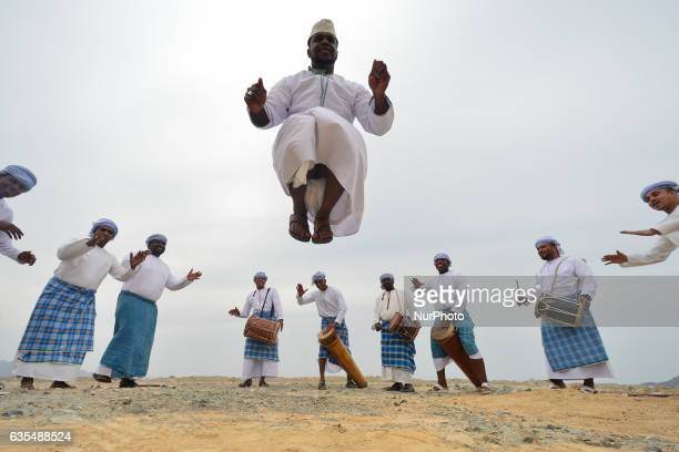 Group of local dancers and musicians during their performance. On Wednesday, February 15 in Al Bustan, Oman.
