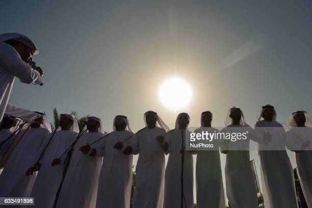 A group of local men during the 'stick dance' a traditional fascinating UAE folk dance in Ras Al Khaimah On Wednesday 1st February in Ras Al Khaimah...