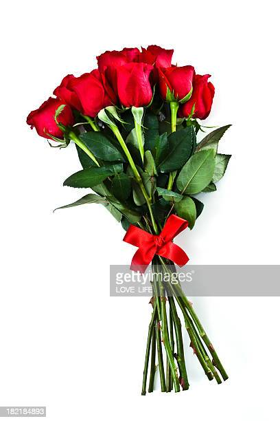 Group of long stemmed roses with red bow for Valentines Day