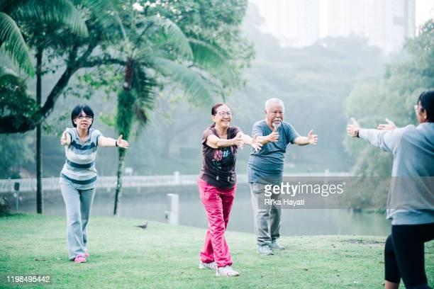 groep van mooie senior mensen doen yoga oefening - kuala lumpur stockfoto's en -beelden