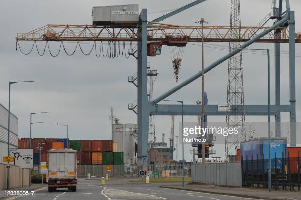 Group of Loyalists holds a protest against the Northern Ireland Protocol at the entrance to Belfast Harbour. On Saturday, 03 July 2021, in Belfast,...