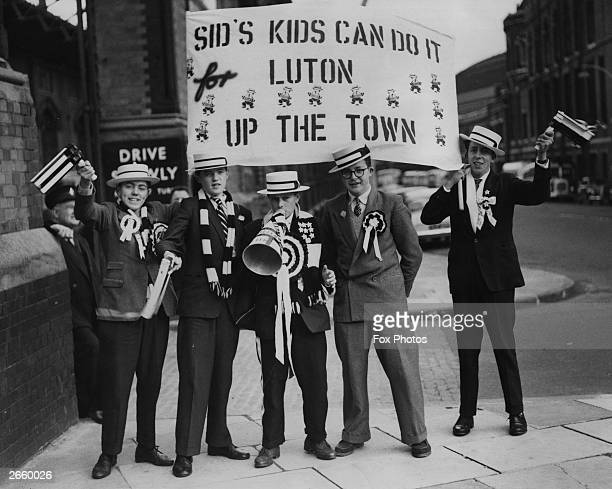 A group of Luton Town supporters at London's St Pancras station on their way to the FA Cup Final against Nottingham Forest at Wembley Luton Town won...