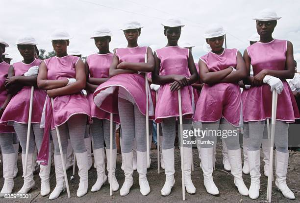 A group of majorettes attend a rally for Nelson Mandela during the 1994 election campaign