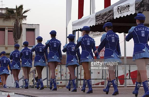 A group of majorettes from Zagreb Croatia perform a routine at the carnival February 5 2005 outside Viareggio Italy The Viareggio Carnival was...