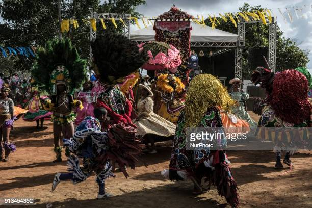 A group of Maracatu presents in the city of Nazaré de Mata in the Northeast of Brazil on January 14 2018