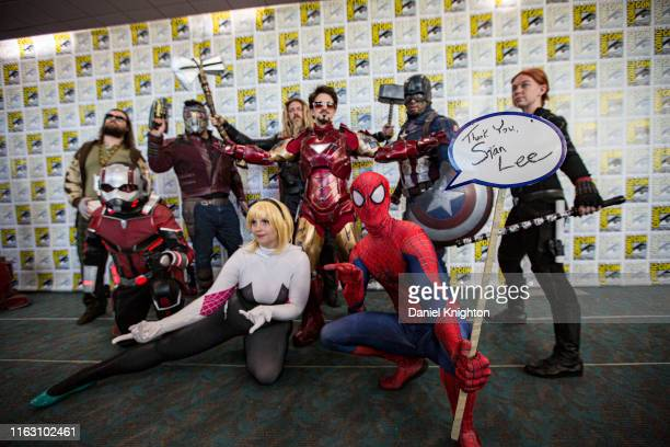 Group of Marvel cosplayers pose at 2019 Comic-Con International on July 19, 2019 in San Diego, California.