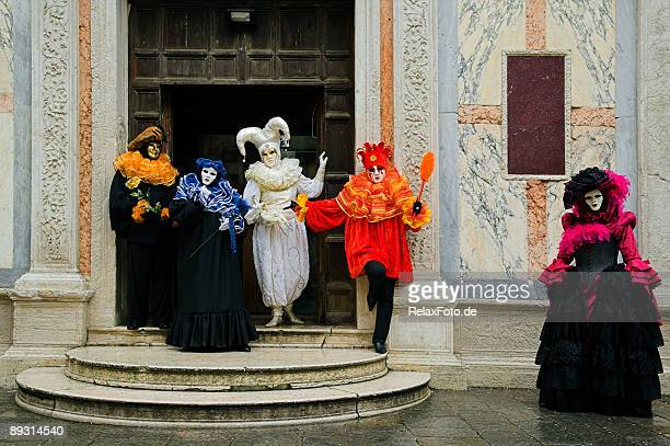 group of masks at carnival in venice (xxl) - harlequin stock photos and pictures
