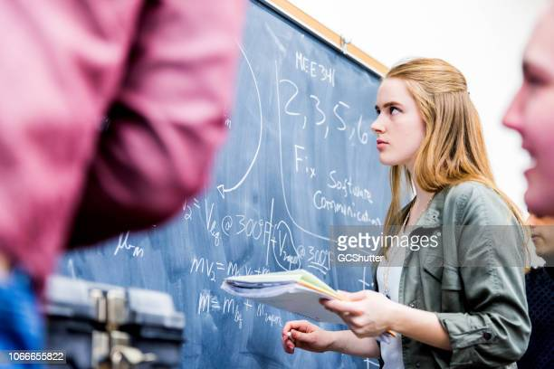 group of mathematics students at their class room - mathematics stock pictures, royalty-free photos & images