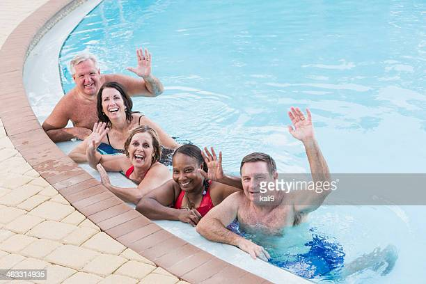 Group of mature adults in swimming pool